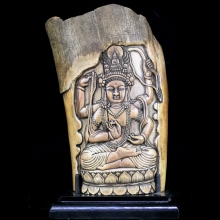 A Himalayan Buddhist ivory carving depicting Tara