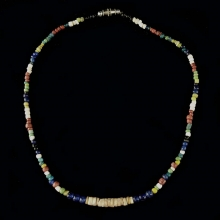 Pyu coloured glass and shell bead necklace