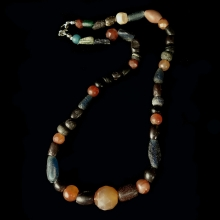 Roman Egyptian glass and carnelian bead necklace