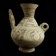 Islamic painted pottery spouted vessel