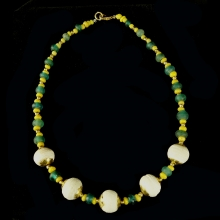Pyu glass bead necklace with modern gold beads