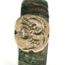 Greek bronze ring with Athena wearing the Corinthian Helmet