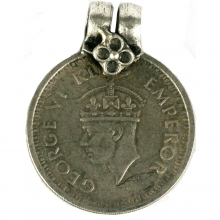 George VI one Rupee coin as a pendant, 1944 British India
