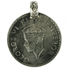 George VI one Rupee coin as a pendant, 1941 British India
