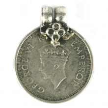 George VI one Rupee coin as a pendant, 1942 British India