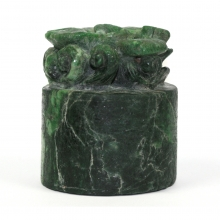 A Chinese green jadeite calligraphy weight