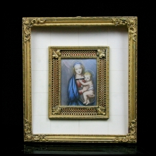 European painting of Mary with child  and gilden metal frame with ivorine inlay