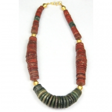 Ancient Nepalese jasper disc-shaped bead necklace with gold elements.