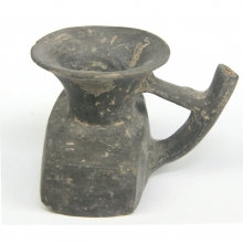 Pre-Colombian black-ware pottery spouted vessel