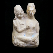 A Pre-Columbian figurative pottery whistle depicting an erotic couple
