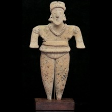 A Pre-Colombian pottery figure of a nobleman