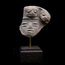 A Pre-Colombian Aztec clay figurative fragment