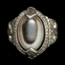 Persian silver ring with agate eye bead bezel