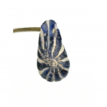 A Romano-Egyptian tear drop shaped bead with feathered trail decoration