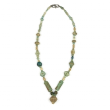 Egyptian faience bead necklace, Saite Period