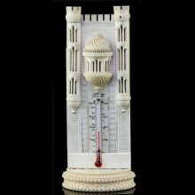 An Anglo-Indian ivory carving of the Anglican Cathedral in Liverpool as a mercury thermometer