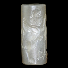 Greco-Bactrian chalcedony cylinder seal depicting two warriors