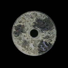 Chinese deep red jade Huang disc carved in Han style