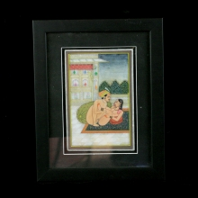Indian decorative painted marble tile depicting and erotic scene