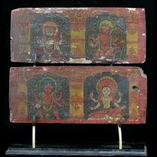 A 17th Century Nepalese carved and painted  Shavite or Shakta book cover