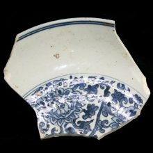 Chinese Swatow ware blue and white charger fragment, study piece