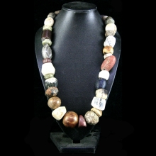 Bactrian stone bead necklace of various colours and forms.