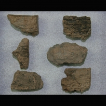 Clay fragments from Mesopotamia with cuneiform inscription