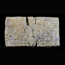 Large Sumerian clay tablet with cuneiform inscription