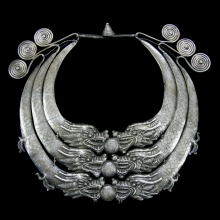 Miao Tribal silver necklace with dragon terminals