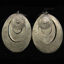 Miao Culture 3 tiered silver earrings engraved with phoenix