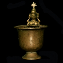 Nepalese bronze figurative libation vessel
