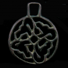 Bactrian bronze stamp seal, with openwork abstract design