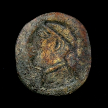 Bactrian bone stamp seal the imprint depicting a a soldier