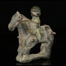Bactrian bronze statuette of a horse and rider