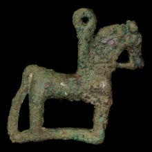 A Bactrian bronze horse amulet with stamp