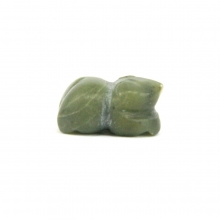 A Mongolian green jade or nephrite bead in the form of a frog