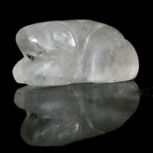 A Pyu rock crystal bead in the form of a frog