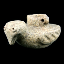Sumero-Elamite stone hanging oil-lamp in avian form.